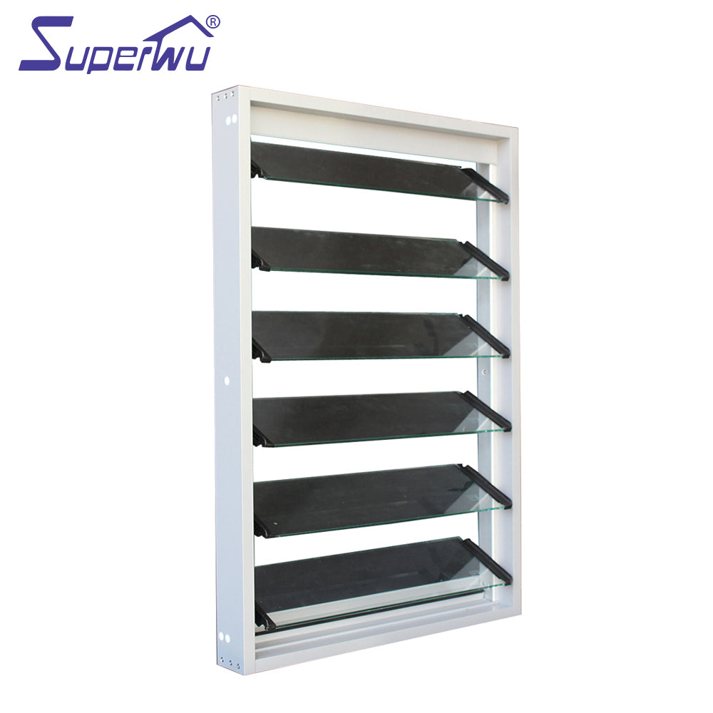 Superwu 2021Australia standard aluminium glass louvers shutter window residential sliver color louver window