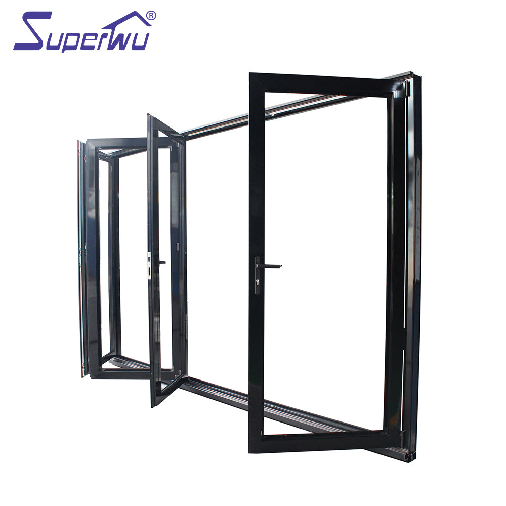 Superwu 2021Apartment exterior black accordion bi folding doors with double glazing