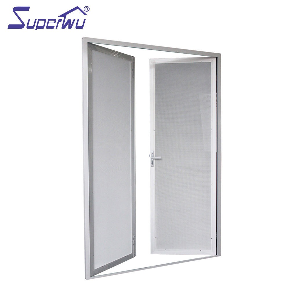 Superwu 2021Double security flyscreen casement door aluminum security mesh hinge door