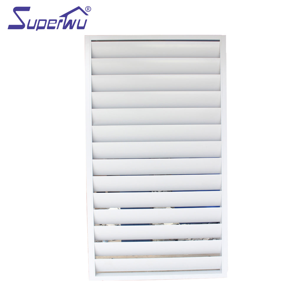 Superwu 2021New product Aluminum Big Blades Fixed Louver window for sunshade