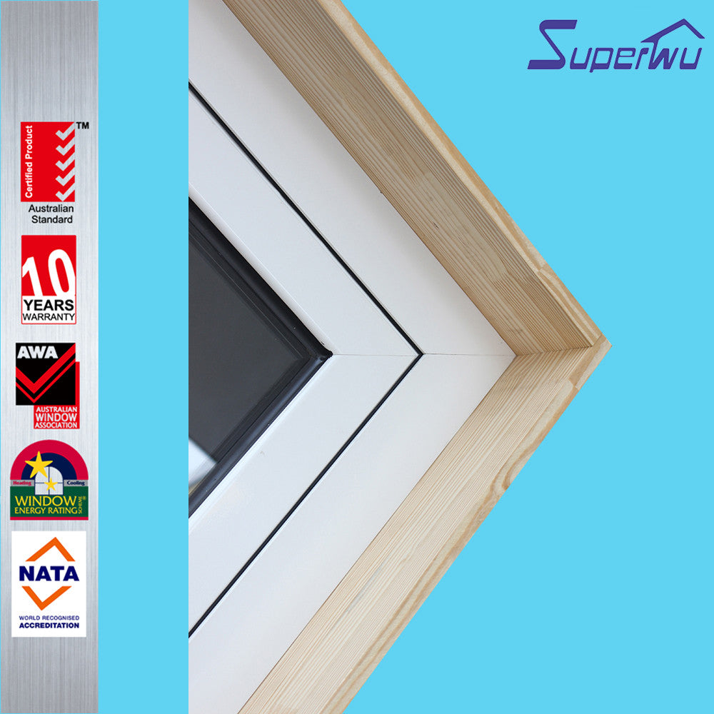 Superwu 2021Wooden frame aluminum Half glass hinged doors