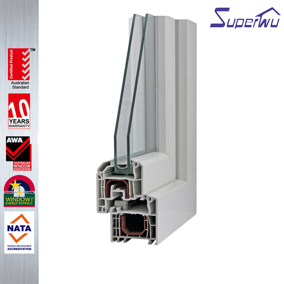 Superwu 2021American style type pvc/upvc vinyl single hung window with tempered clear glass