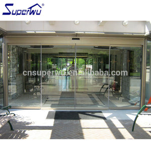 Superwu 2021Automatic frameless aluminum sliding door glass sensor door