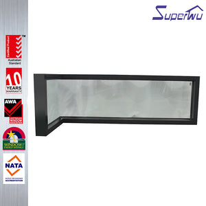 Superwu 2021Aussie design corner turn large single panel Aluminum fixed frame window with double glaze