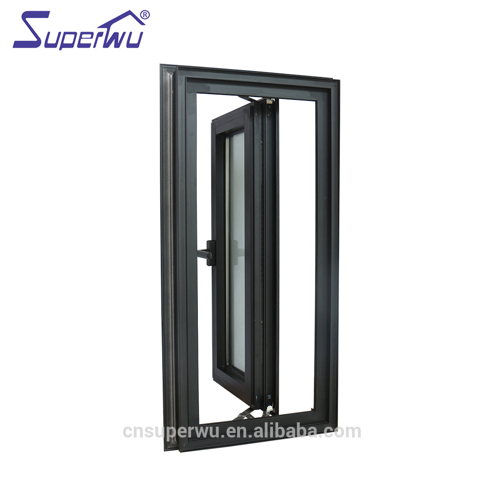 Superwu 2021Miami Dade county tempered glass window hot sale hurricane impact casement windows with 10 years warranty