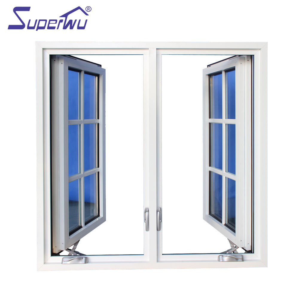 Superwu 2021American style chain winder open window aluminum casement window with colonial bars supplier