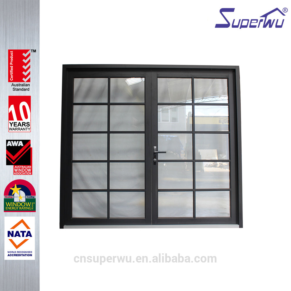 Superwu 2021Miami Dade Code standards aluminium alloy hurricane impact Laminated glass casement french door for building project