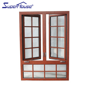 Superhouse 2021AAMA MIAMI DADE standard aluminium clad wood crank casement window with decorative bar for house energy rating