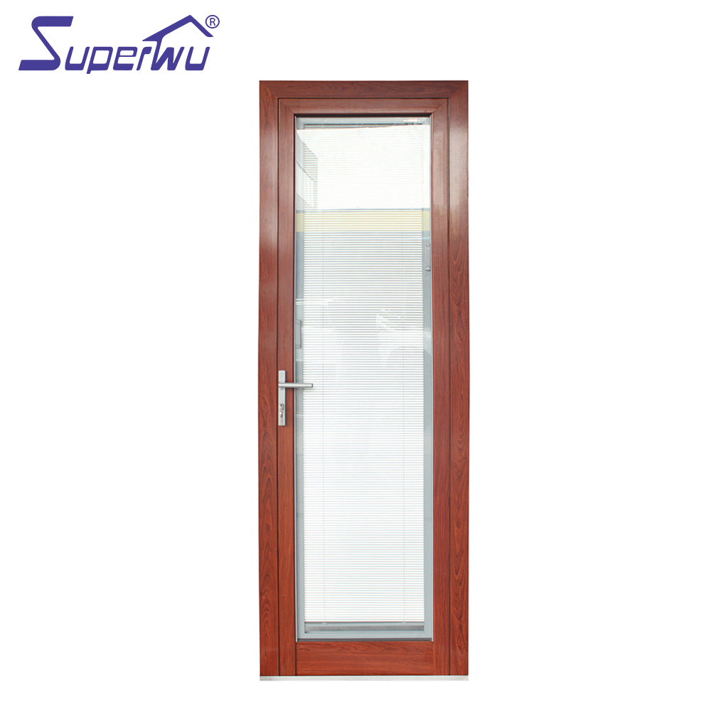 Superwu 2021Customized wooden color single hinged door aluminum french door double tempered glass