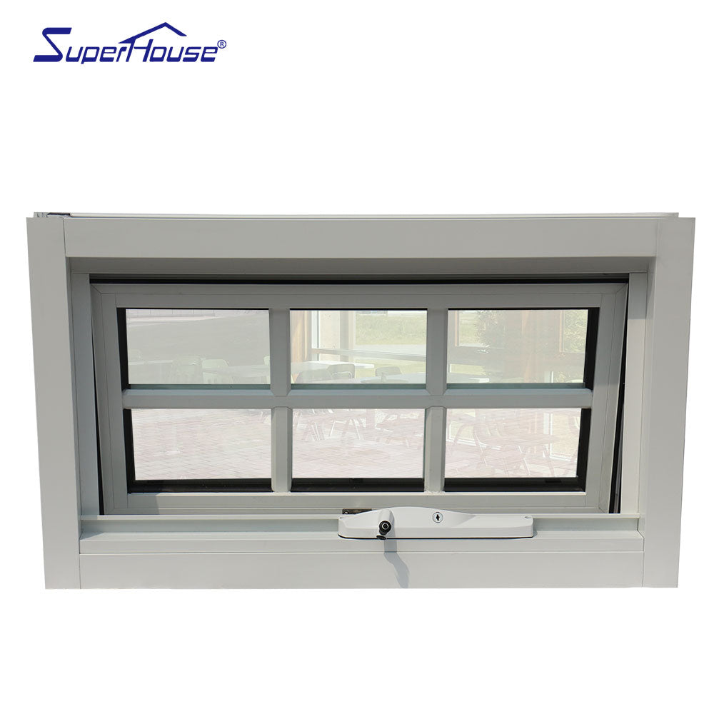 Superwu 2021Australia chain winder with aluminum grill double toughened glass awning window