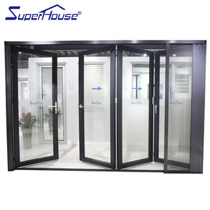 Superhouse 2021AS2047 NFRC AAMA NAFS NOA standard commercial large double glass aluminum folding glass doors with flyscreen