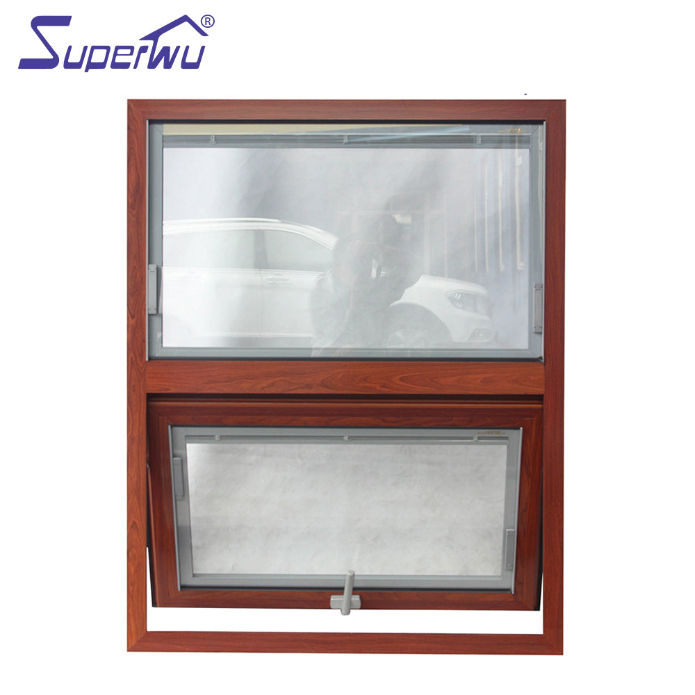 Superwu 2021wooden look aluminum frame retractable flyscreen awning windows