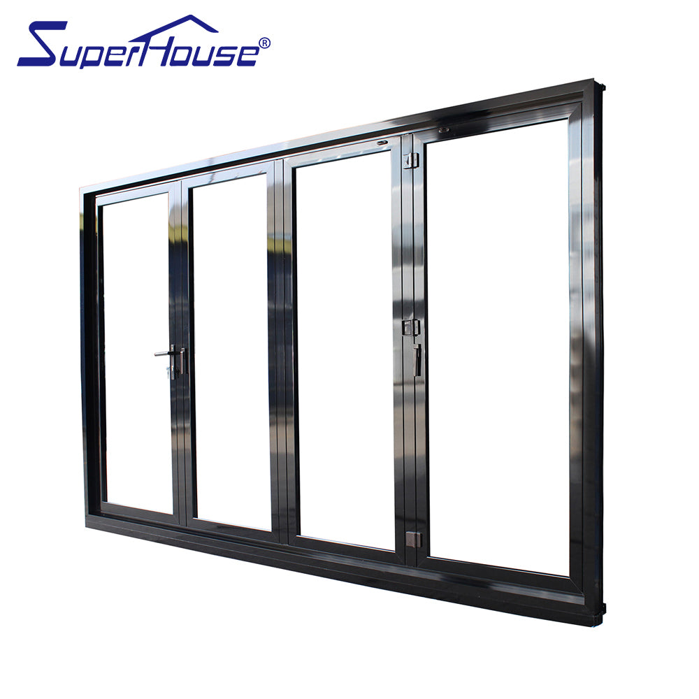 Superhouse 2021AS2047 NFRC AAMA NAFS NOA standard double glass Stainless steel hinges folding sliding doors