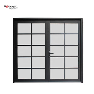 Superhouse 2021New design factory price modern entry black powder coated exterior glass aluminium double door for sale