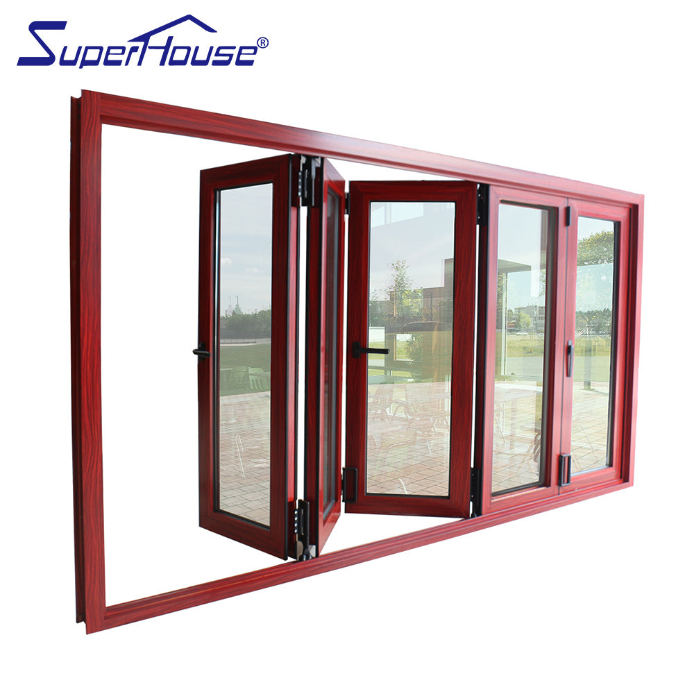 Superhouse 2021AS2047 NFRC AAMA NAFS NOA standard thermal break double glass folding aluminium doors