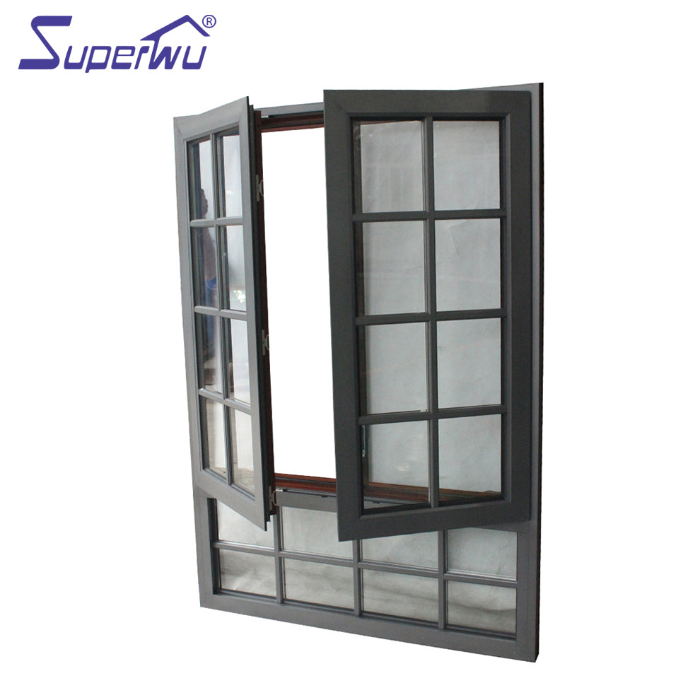 Superwu 2021American design opening window two panels aluminium alloy casement window dual colored