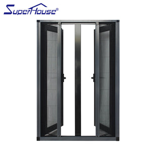Superhouse 2021Factory Insulated aluminum casement window with burglar proof and fly screen mesh integrated aluminium frame casement window
