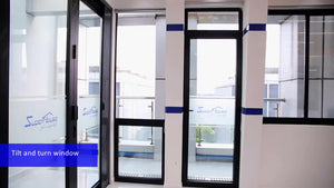 Superwu 2021Latest Design Two Way Open Long slim aluminum profile Tilt And Turn Casement Glass Windows