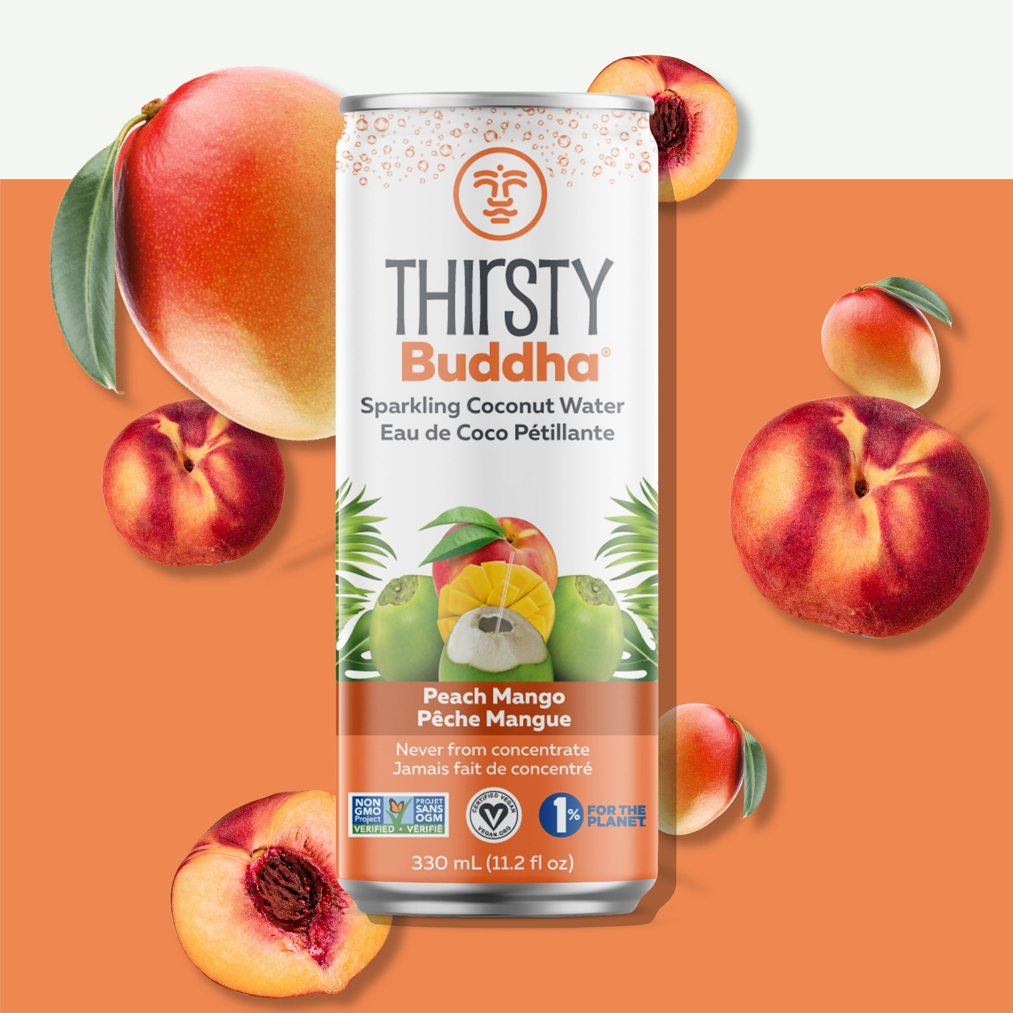 Sparkling Coconut Water with Peach Mango (330ml)
