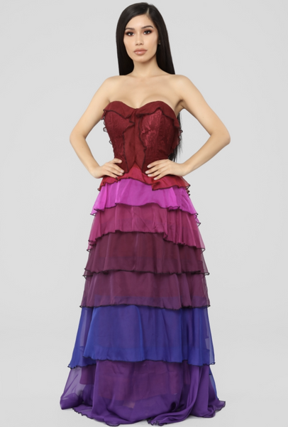 MAXI VESTIDO RAINBOW DEGRADADO STRAPLESS.