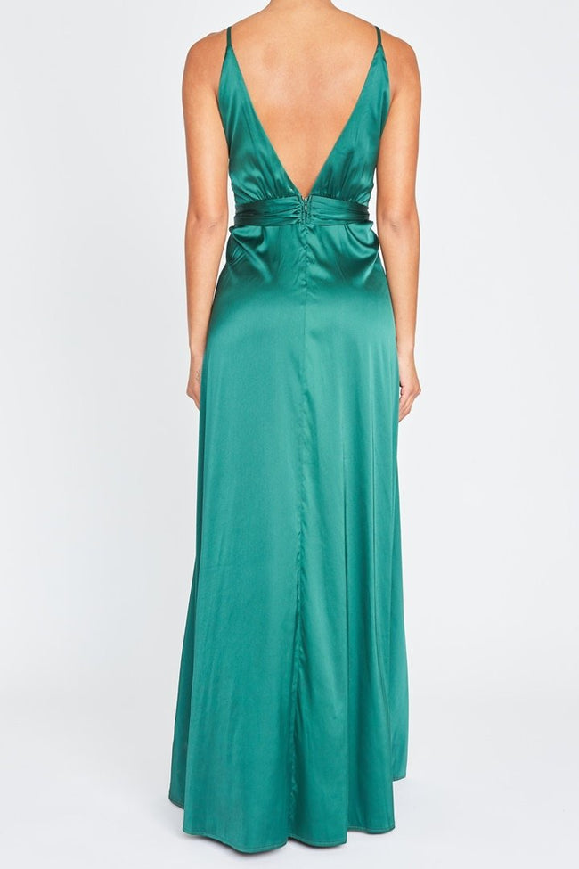 MAXI VESTIDO SATIN HUNTER GREN