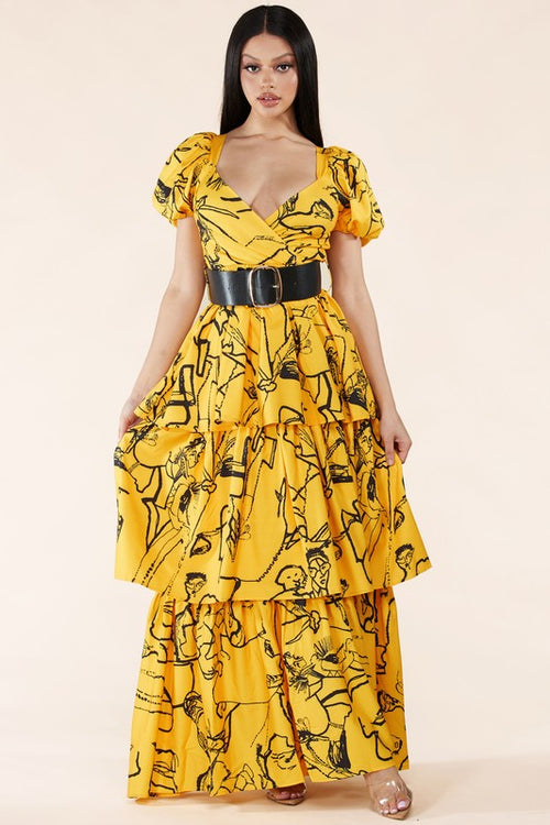 MAXI VESTIDO ART FACE AMARILLO