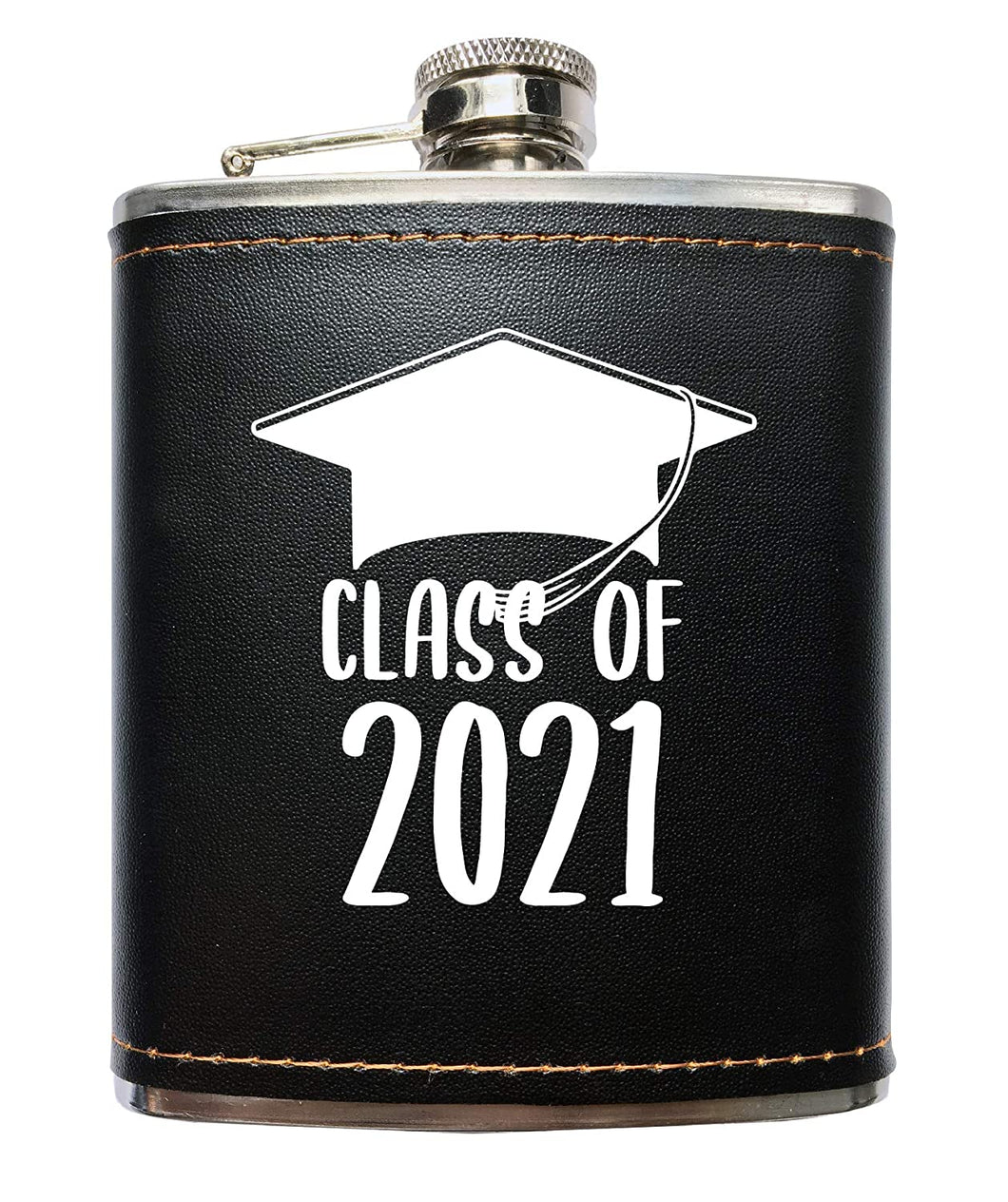 Class of 2021 Grad Black Leather Wrapped Flask