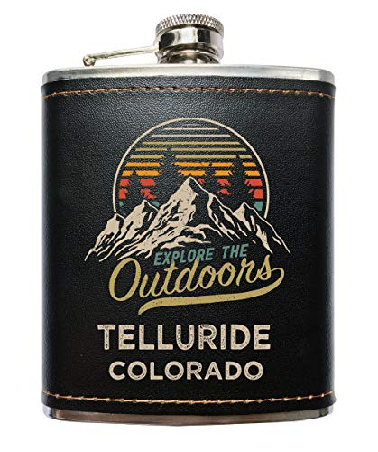 Telluride Colorado Black Leather Wrapped Flask