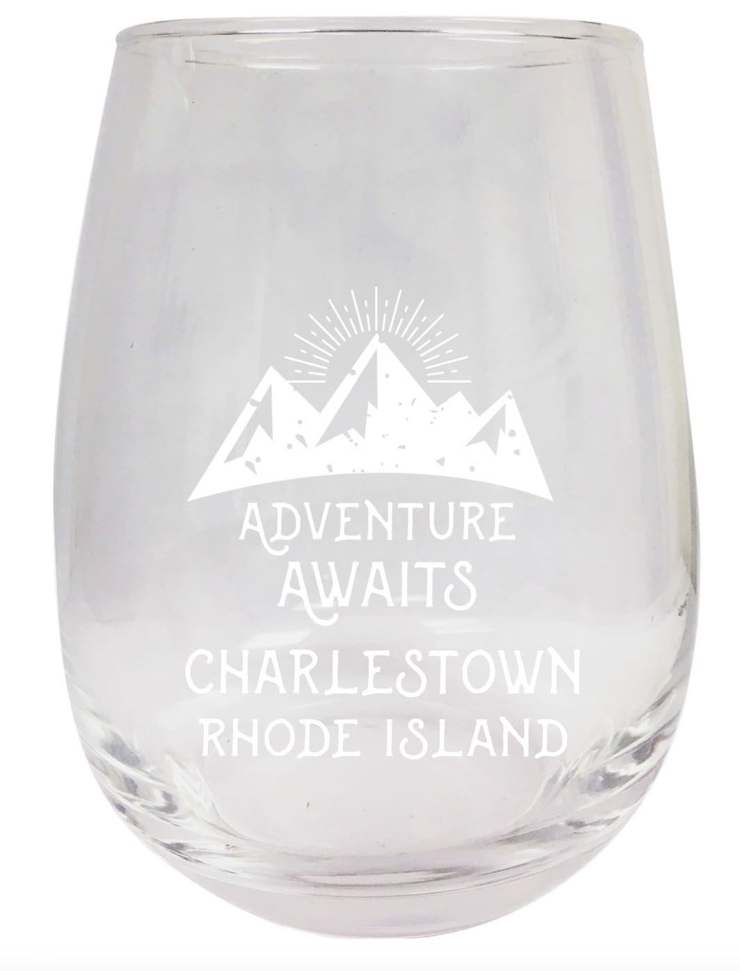 Rhode Island Engraved Stemless Wine Glass Duo