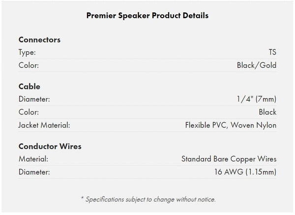 Warm Audio Premier Series Speaker cable specifications