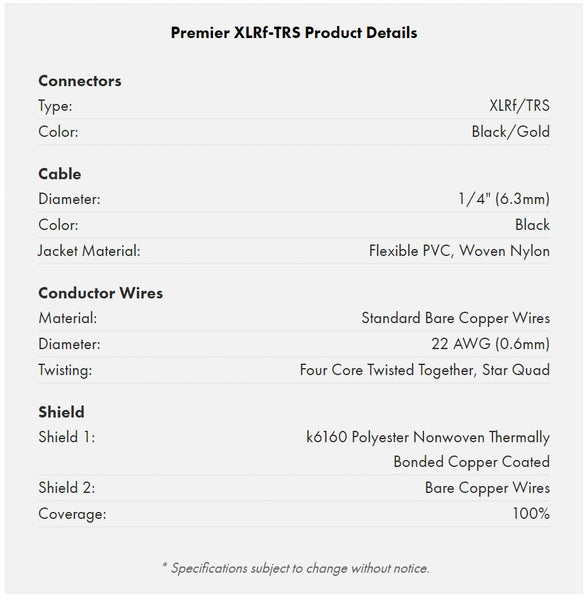 Warm Audio Premier Series XLR Female to TRS cable specifications