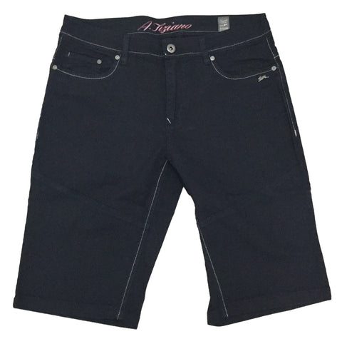 A.Tiziano Navy Greg Twill Shorts with Sanding
