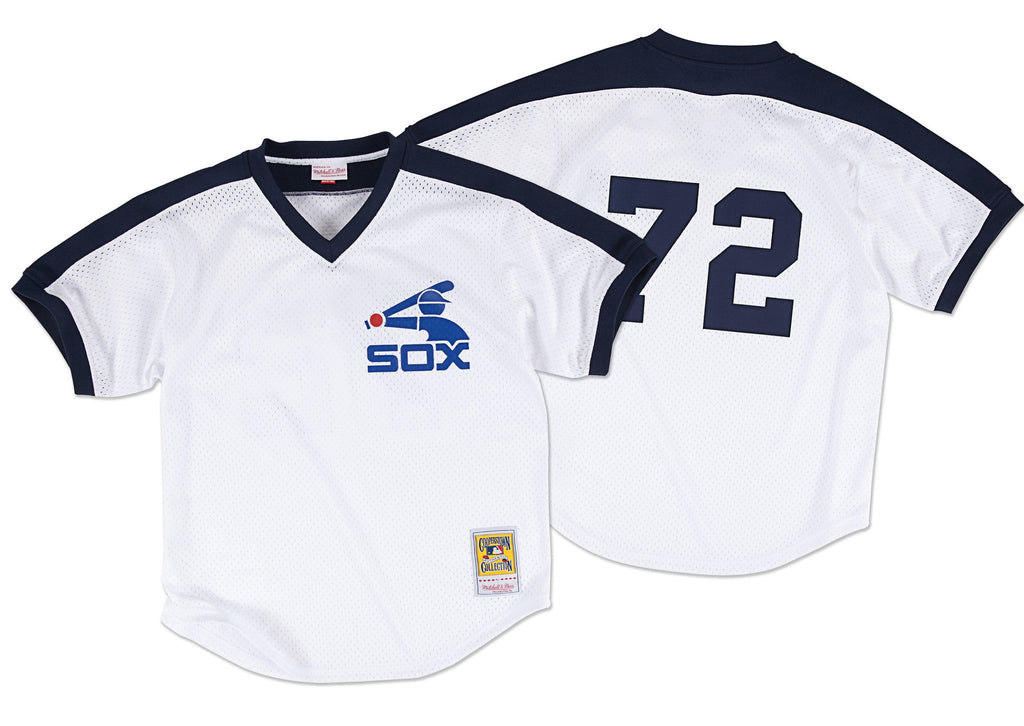 Mitchell & Ness White Carlton Fisk 1981 Authentic Mesh BP Jersey Chicago White Sox