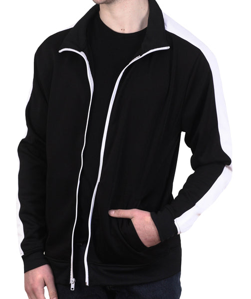 Bleecker & Mercer Black Basic Color Block Track Jacket