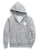 Champion Oxford Grey Reverse Weave Mesh And Leather Zip Hoodie