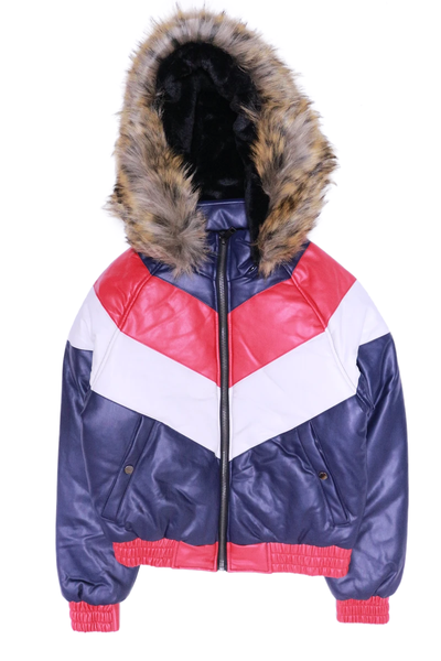 Dakoma Outerwear Navy/Red/White Colorblock Padded Jacket W/ Fox Fur