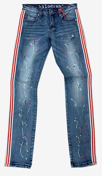 Kilogram Light Blue Paint Splatter Jeans with Red/White Strip