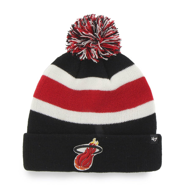 47 Brand Miami Heat Black Breakaway Pom Top Cuff Knit Hat