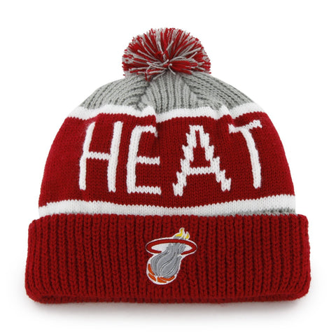 47 Brand Miami Heat Red Calgary Pom Top Cuff Knit Hat