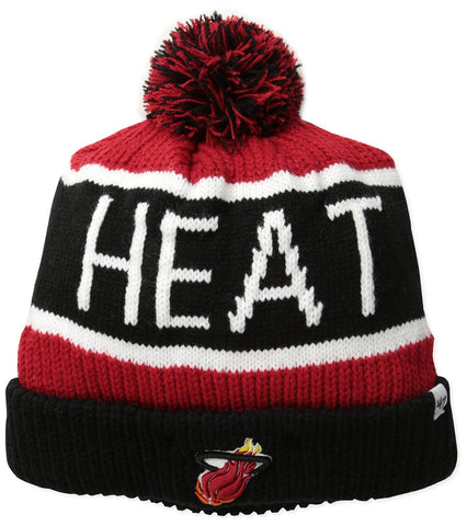 47 Brand Miami Heat Black Calgary Pom Top Cuff Knit Hat
