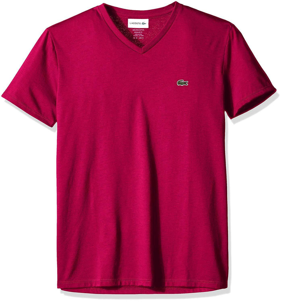 Lacoste Persian Red Short Sleeve Pima Cotton V-Neck Jersey T-Shirt
