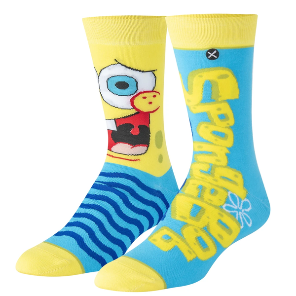 Odd Sox Yellow/Blue Spongebob Big Face Crew Socks