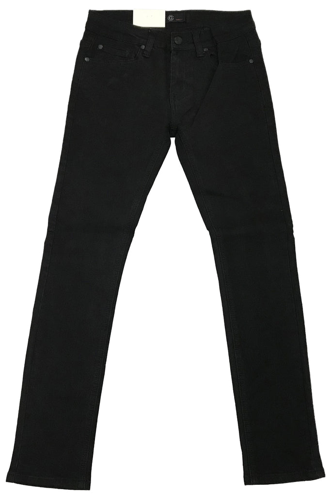 Octagon Jet Black Basic Raw Skinny Jeans
