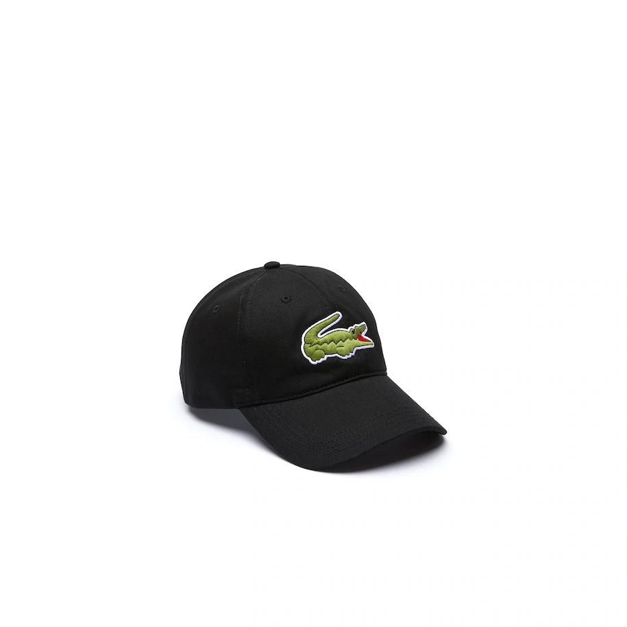 Lacoste Black Contrast Strap And Oversized Crocodile Strapback Cap