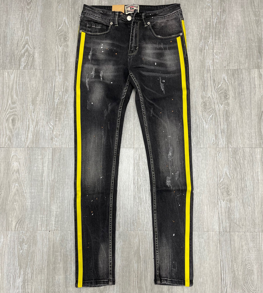 Reelistik NYC Black Skinny Fit Jeans with Yellow Side Strip
