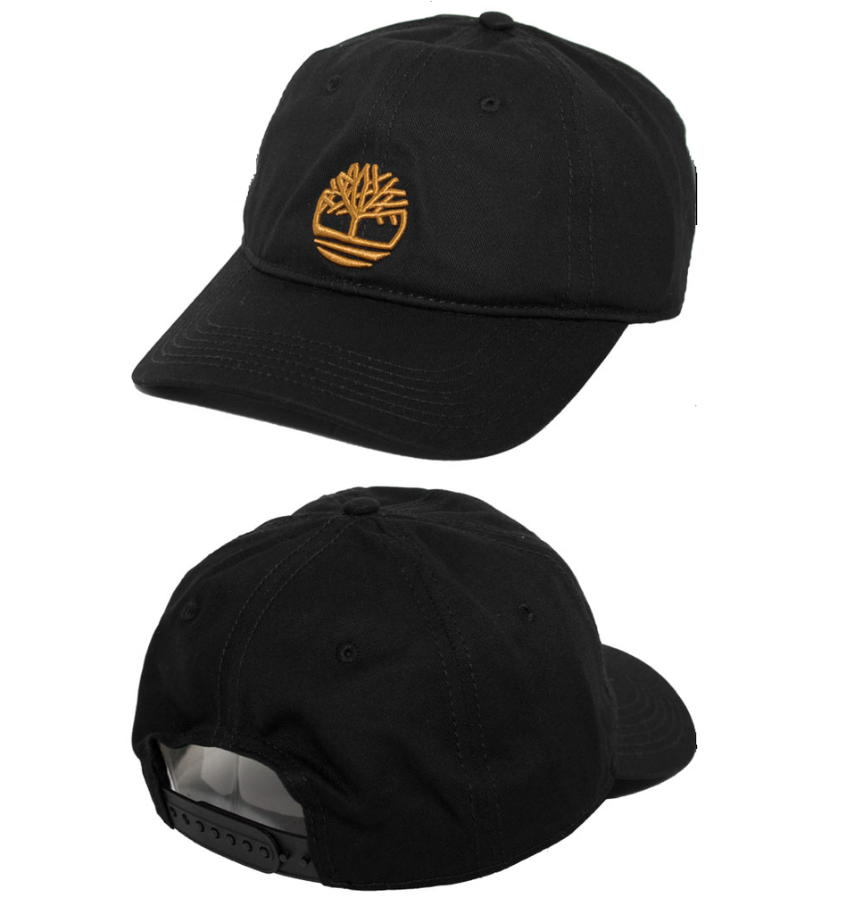 Timberland Black Contrast 3D Embroidered Tree Snapback Hat