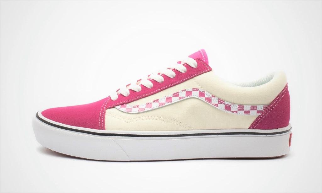 Vans Comfycush Old Skool (Sidestripe Check) Carmine Rose/True White