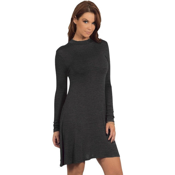 Grey Long Sleeve Casual Shirt Dress - Luxe Statements