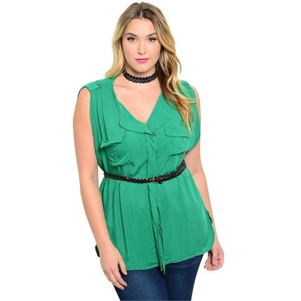 GREEN PLUS SIZE TOP