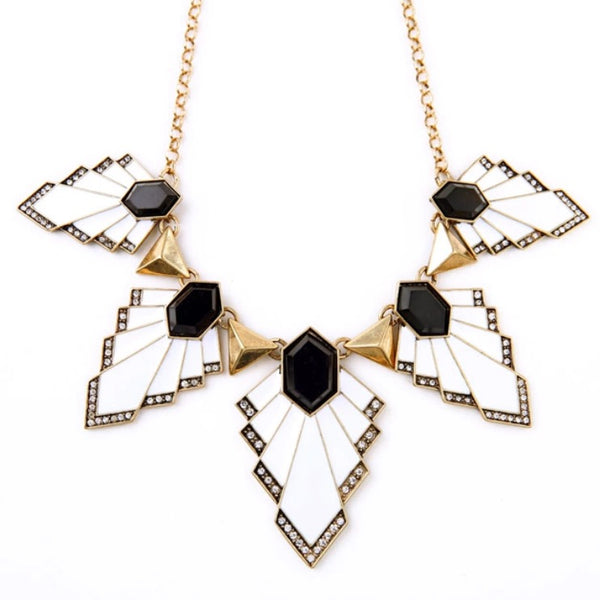 luxe statements white leaf statement necklace